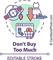 kopen, niet, pictogram, veel, concept