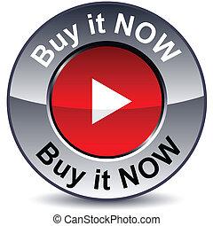 kopen nu, informatietechnologie, ronde, button.