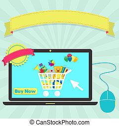 kopen, speelgoed, online, door, draagbare computer