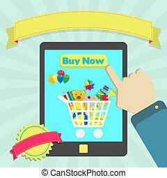 kopen, speelgoed, online, door, tablet
