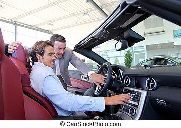 koper, auto, het tonen, verkoper, details, interieur