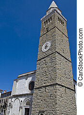 Koper cathedral and town tower in Tito square in Koper...