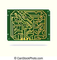 koper, contacten, technologie, textolite, vrijstaand, hardware, achtergrond., computer, groene, white., circuit, digitale , elektronische plank