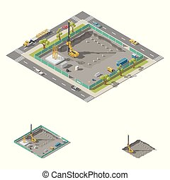 Koper install piles at construction site isometric icon set