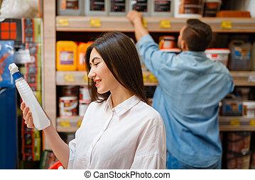 koper, kies, vrolijke , hardware, materialen, winkel
