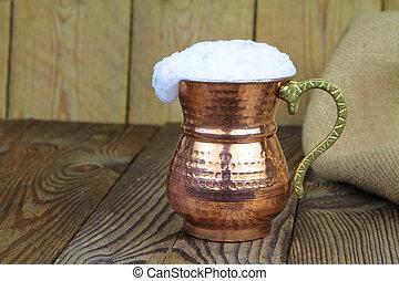 koper, kop, turkse , metaal, drank, -, traditionele , ayran, yoghurt