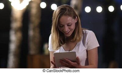 koper, vieren, loterij, doel, tablet, concept., jonge,...
