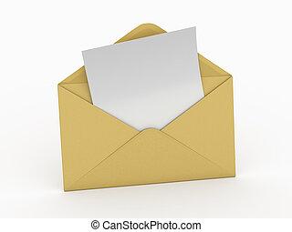 koperta, 3d, letter., opróżniać, mail.