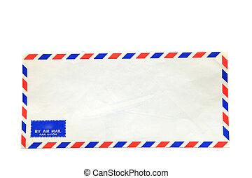 koperta, odizolowany, powietrze, tło, poczta, biały
