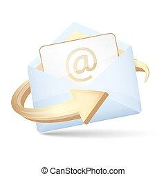 koperta, wektor, strzała, letter., otwarty, email, ikona