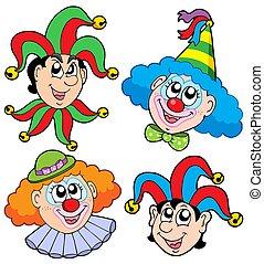 kopf, 2, clowns, sammlung