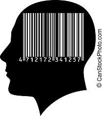 kopf, a, mann, mit, a, barcode.