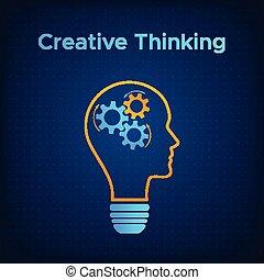 kopf, begriff, silhouette, ausrüstung, idee, kreativ, lampe