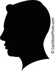 kopf, bemannt, silhouette, schwarz