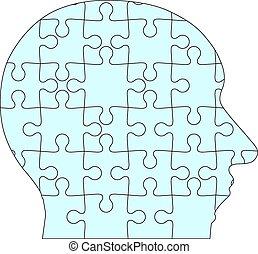 kopf, blaues, puzzel, stichsaege, hintergrund., menschliche