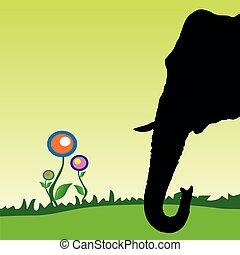 kopf, blume, abbildung, elefant