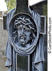 kopf, christus, geschnitzt, in, der, kreuz