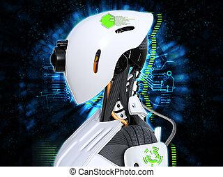 kopf, concept., roboter, übertragung, weibliche , android, technologie, 3d