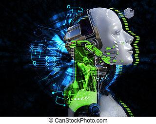 kopf, concept., roboter, übertragung, weibliche , technologie, 3d