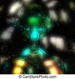 kopf, cyborg, abbildung, 3d