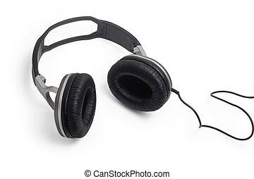 kopf, draht, kabel, klassisch, telefone, kopfhörer, stereo,...