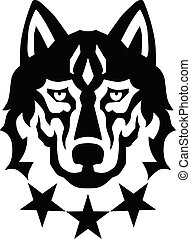kopf, drei, wolf, logo, sternen
