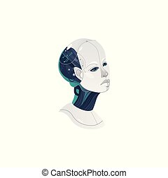 kopf, frau, cyborg, vektor, karikatur, ikone