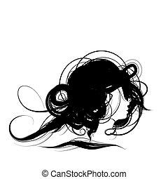 kopf, frau, design, silhouette, frisur