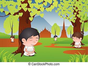 kopf, frau, groß, üben, verstand, baum, dharma, wald, lernen, unter, meditation, blase, karikatur, mann
