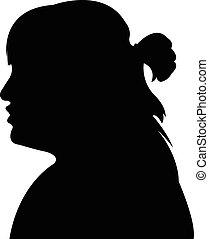 kopf, frau, silhouette