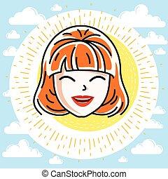 kopf, frau, weibliche , positiv, haircut., gesicht, vektor, attraktive, menschliche , gefuehle, rothaarige, stilvoll, illustration., kaukasier, ausdrücken