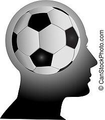 kopf, fußballfootball, verstand, fächer, hat