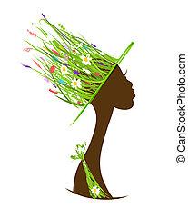 kopf, gemacht, organische , begriff, haar, weibliche , gras, hut, sorgfalt