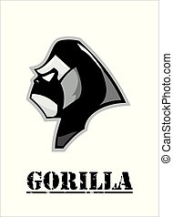 kopf, gorilla, schwarz, white., seitenansicht