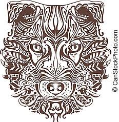 kopf, grafik, abstrakt, zeichnung, hund