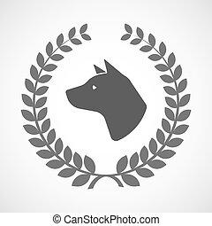 kopf, hund, lorbeer, ikone, freigestellt, kranz