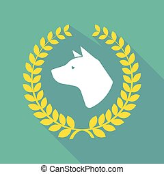 kopf, hund, lorbeer, ikone, langer, schatten, kranz