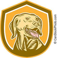 kopf, hund, schutzschirm, holzschnitt, labrador