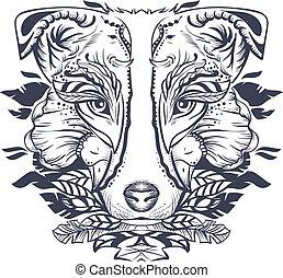 kopf, illustration., abstrakt, hund, schwarz, weißes