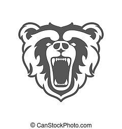 kopf, illustration., klub, bär, oder, logotype., team., vektor, tier, logo, sport, template., maskottchen