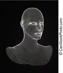 kopf, illustration., wireframe, vektor, model., vector., zeichnung, 3d