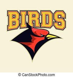 kopf, kardinal, vogel, rotes