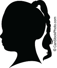kopf, kind, vektor, silhouette