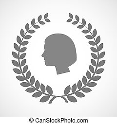 kopf, kranz, freigestellt, weibliche , lorbeer, ikone