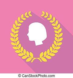 kopf, kranz, langer, weibliche , lorbeer, schatten, ikone