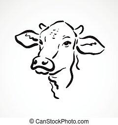 kopf, kuh, bauernhof, animals., hintergrund., vektor, weißes