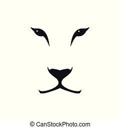 kopf, löwin, bild, hintergrund., vektor, weißes