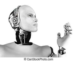 kopf, profile., mann, roboter