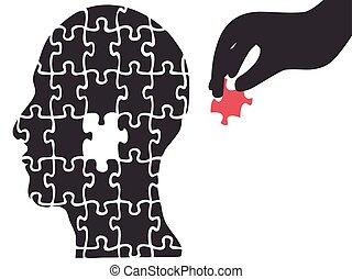 kopf, puzzle, hand, nahm