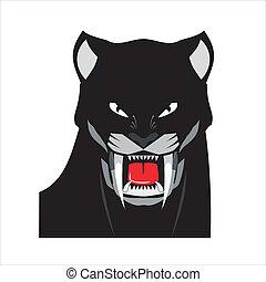 kopf, schwarz, fett, panther